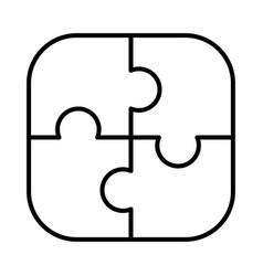 monochrome simple puzzle pieces icon vector image
