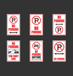 no parking signs set parking is prohibited icons vector image