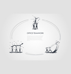 office teamwork - business people in teams looking vector image
