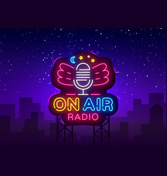 On air radio neon logo radio neon sign vector