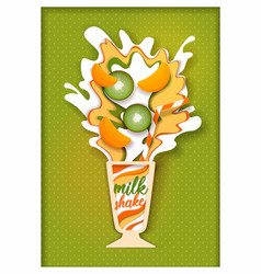 paper cut tropical fruit milkshake vector image