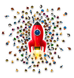 People around a rocket on a white background vector