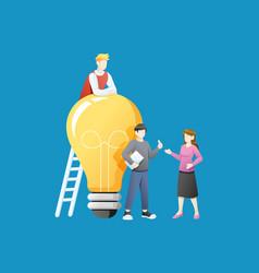 People with big light bulb idea vector