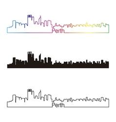 Perth skyline linear style with rainbow vector