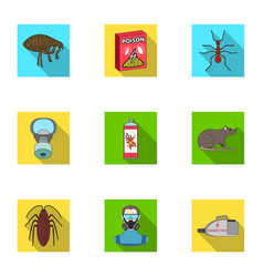 Pest poison personnel and various equipment flat vector