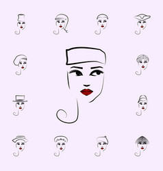 pillbox hat girl icon hat girl icons universal vector image