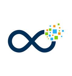 pixel infinity logo icon design vector image