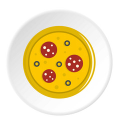 Pizza with sausage and olives icon circle vector