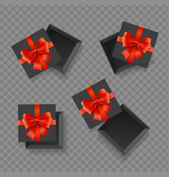 realistic detailed 3d black present box with red vector image