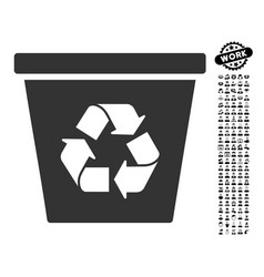 recycle bin icon with men bonus vector image