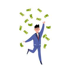 Rich man happy young businessman or millionair vector