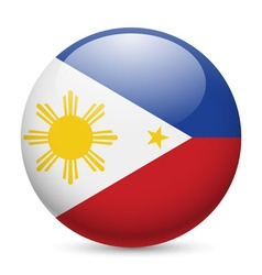 Round glossy icon of philippines vector image