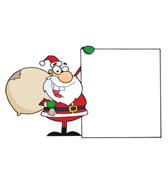 santa clause presenting a blank sign vector image