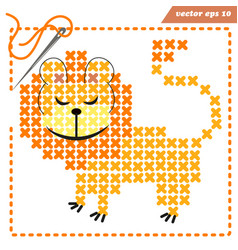 scheme for crosstiching with funny lion vector image