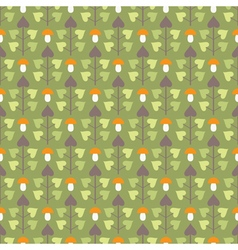 Seamless pattern with abstract trees and mushrooms vector