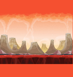 Seamless volcano planet landscape for ui game vector