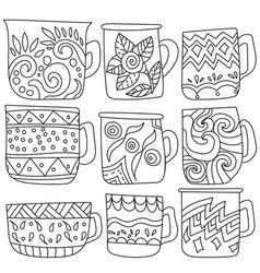 Set contour cups with zen antistress patterns vector