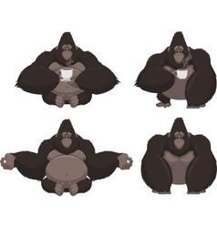 set funny gorilla vector image