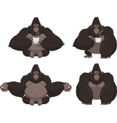 Set of funny gorilla vector image