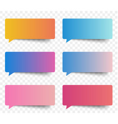 Set of gradient color speech and thought sticker vector