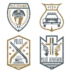 set of grunge vintage police law enforcement vector image