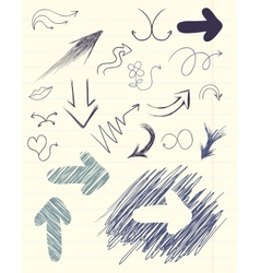 Set of hand drawn arrows vector