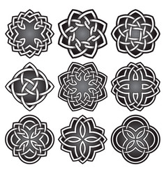 Set of logo symbols in celtic knots style vector