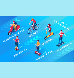 set people on ecological personal transport vector image