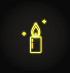 shining candle neon icon in line style vector image