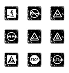 Sign icons set grunge style vector