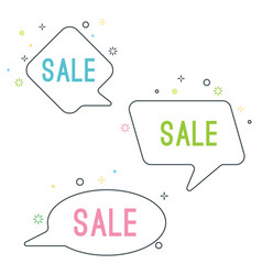 simple sale speech bubbles with geometric signs vector image