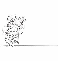 single continuous line drawing young funny vector image