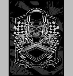skull with helmet hand drawing vector image