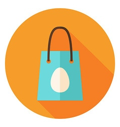 Spring Shopping Bag with Easter Egg Circle Icon vector image