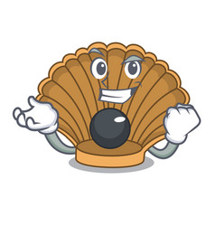 Successful shell with pearl character cartoon vector