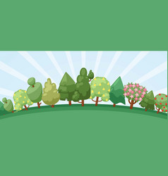 summer forest with blooming trees cute landscape vector image