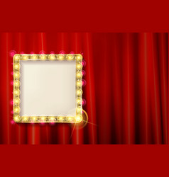 suspended gold frame on the red curtain vector image