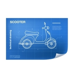 Technical wireframe with scooter vector