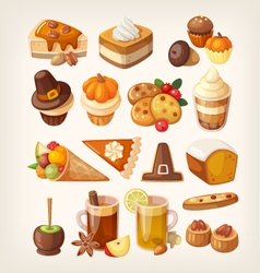 Thanksgiving day desserts vector