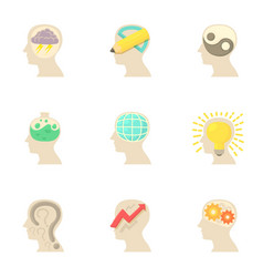 Thoughts inside man head icons set cartoon style vector
