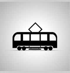 Tram silhouette side view simple black icon vector