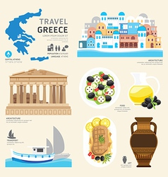 Travel Concept Greece Landmark Flat Icons Design vector image