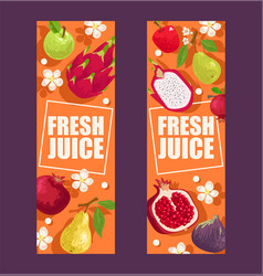 tropical fruits set of banners vector image