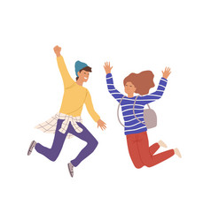 Two smiling teenage people jumping raising hands vector
