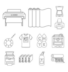 Typographical products outline icons in set vector