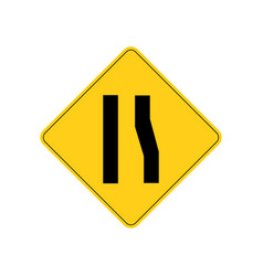 Usa traffic road signs right lane ends ahead vector