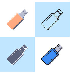 usb flash drive icon set in flat and line style vector image