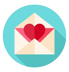 Valentine Envelope with Heart Circle Icon vector image