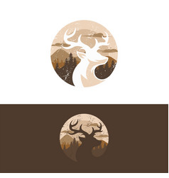 vintage deer logo design template vector image
