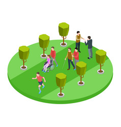 volunteers and disabled people walk isometric vector image
